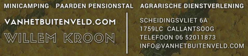 Willem Kroon minicamping, paardenpensionstal, agrarische dienstverlening